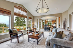 Open plan living room interior in luxurious house stock photo