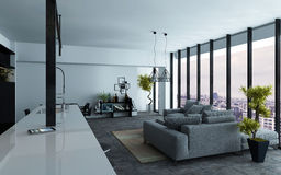 Open-plan living room interior with view windows Royalty Free Stock Images