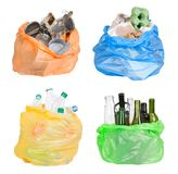 Open plastic bags with rubbish prepared for recycling royalty free stock photo