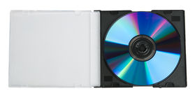 Open plastic box with DVD disk Royalty Free Stock Photography
