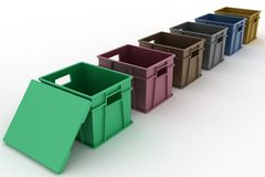 Open plastic containers with a lid Royalty Free Stock Images