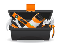 Open plastic tool box vector illustration. Isolated on white background Stock Image