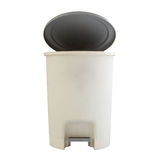 Open plastic trash can isolated on white Stock Photo