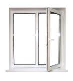 Open plastic venster Stock Fotografie