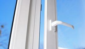 Open plastic vinyl window Stock Photos