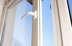 Open plastic vinyl window Stock Image