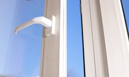 Open plastic vinyl window Royalty Free Stock Images