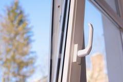Open plastic vinyl window Stock Photo