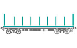 Open platform Railway freight car - Vector Royalty Free Stock Images
