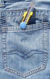 Pocket Knife In Jeans Pocket Stock Image Image Of