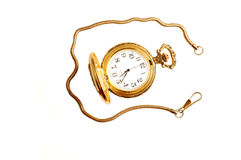 Open pocket watch. An antique golden open pocket watch with chain on white background Royalty Free Stock Image