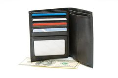 Open pocketbook and dollar banknote Stock Image