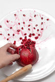 Open pomegranate with seed on white background Stock Photos