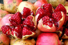 Open Pomegranates at the Sucre Market stock images