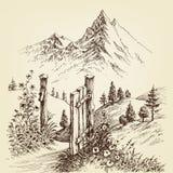 Open poort aan de weg aan berg stock illustratie