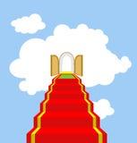 Open poorten van paradijs Ladder in wolken Graad in hemel Rood c royalty-vrije illustratie