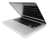Open portable computer. Slightly open silver portable computer with keyboard reflection on the screen, with clipping path and shadow Royalty Free Stock Photos