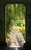Open portal and brick road. Royalty Free Stock Images