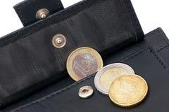 Open portefeuille met geld. stock afbeeldingen