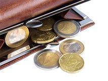 Open portefeuille met muntstukken Royalty-vrije Stock Afbeeldingen