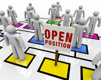 Open Position in Organizational Chart. An empty square in an organizational chart with a sign reading Open Position royalty free illustration