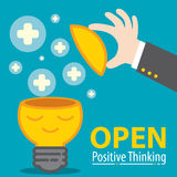 Open Positive Thinking. Business hand open meditation of Light bulb with plus symbol flying. Open positive thinking in business concept. Cartoon flat and line Royalty Free Stock Photography