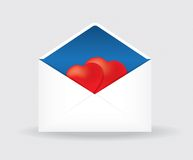 Open postal envelope with two hearts Stock Photography