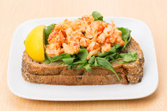 Open prawn sandwich Royalty Free Stock Image