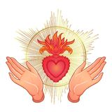 Open praying hands around sacred heart of Jesus. Hope faith and. Help, assistance and support symbol. Vector color illustration in vintage style isolated on Stock Photos