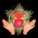 Open praying hands around sacred heart of Jesus. Hope faith and. Help, assistance and support symbol. Vector color illustration in vintage style isolated on Royalty Free Stock Photography