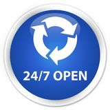 24/7 open premium blue round button. 24/7 open isolated on premium blue round button abstract illustration Stock Image