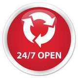 24/7 open premium red round button. 24/7 open isolated on premium red round button abstract illustration Royalty Free Stock Photos