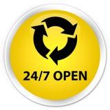 24/7 open premium yellow round button. 24/7 open isolated on premium yellow round button abstract illustration Stock Photos