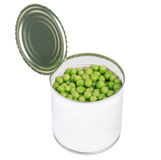 Open preserve with peas isolated on white Stock Photos