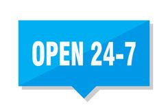Open 24 7 price tag. Open 24 7 blue square price tag Royalty Free Stock Photography