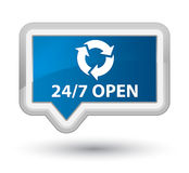 24/7 open prime blue banner button. 24/7 open isolated on prime blue banner button abstract illustration Royalty Free Stock Photography