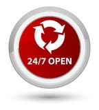 24/7 open prime red round button. 24/7 open isolated on prime red round button abstract illustration Stock Photos