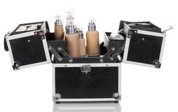 Open  professional bag with cosmetics isolated on white background. Royalty Free Stock Image