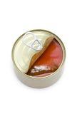 Open può con lo sgombro e la salsa di pomodori. Fotografie Stock