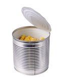 Open puede con maíz Imagen de archivo libre de regalías