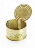 Open puede con SPAM del texto sobre blanco Imágenes de archivo libres de regalías