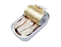 Open puede de sardinas en aceite Foto de archivo libre de regalías