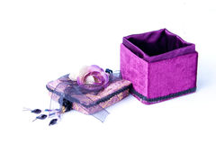 Open purple gift box with a rose isolated. Stock Images