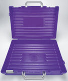 Open Purple plastic School case Royalty Free Stock Photo