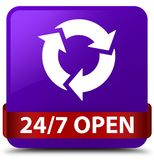 24/7 open purple square button red ribbon in middle. 24/7 open isolated on purple square button with red ribbon in middle abstract illustration Royalty Free Stock Image