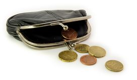 Open purse with cents royalty free stock photography