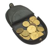 Open purse with coins. Stock Photo