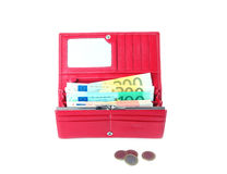 Open purse feminine red with money 4. Open purse feminine red on white background Royalty Free Stock Photography