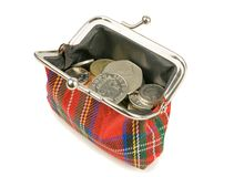An Open Purse Full with Coins Royalty Free Stock Images