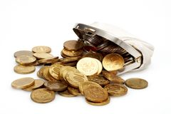 Open purse with gold coins Royalty Free Stock Image